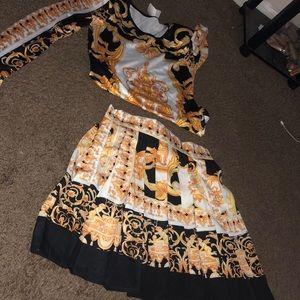 Dresses & Skirts - Printed Sace pleated skirt set